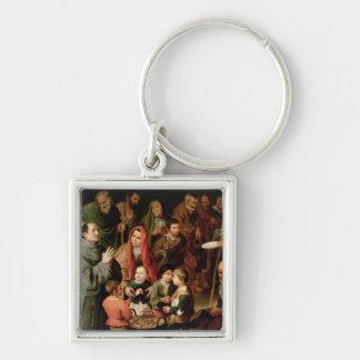 St. Diego av Alcala ge mat till det fattigt Fyrkantig Silverfärgad Nyckelring