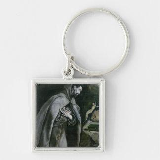 St Francis av Assisi, 1580-95 Fyrkantig Silverfärgad Nyckelring