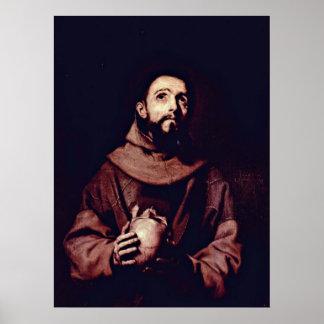 St Francis av Assisi av Jusepe de Ribera Poster