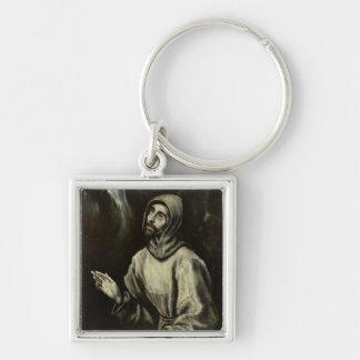 St Francis av Assisi Fyrkantig Silverfärgad Nyckelring
