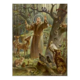 St Francis av Assisi omgav vid djur Vykort