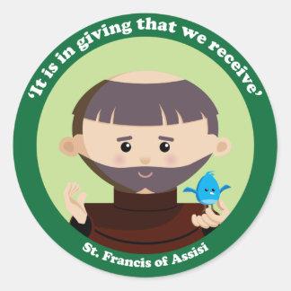 St Francis av Assisi Runt Klistermärke