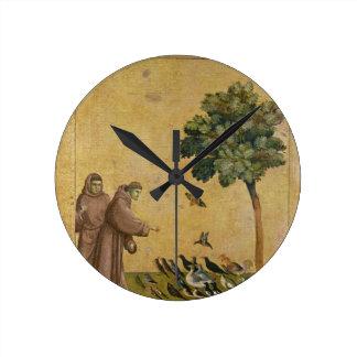 St Francis av Assisi som predikar till fåglarna Rund Klocka