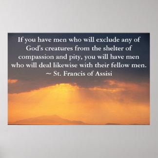 St Francis av det Assisi citationstecknet om djure Poster
