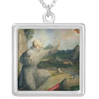 St Francis av det Assisi hälerit stigmatana Silverpläterat Halsband
