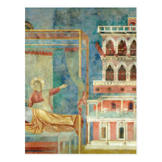 St Francis drömmar av en slottfullt av vapen Vykort