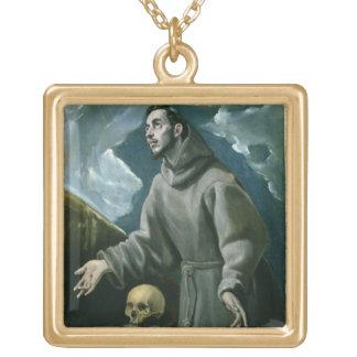 St Francis häleri stigmatana (olja på kanfas) Guldpläterat Halsband