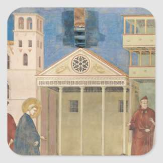 St Francis hedrade vid en enkel man, 1297-99 Fyrkantigt Klistermärke