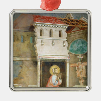 St Francis som ber i kyrkan av San Julgransprydnad Metall
