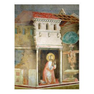 St Francis som ber i kyrkan av San Vykort
