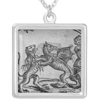 St George och draken Silverpläterat Halsband