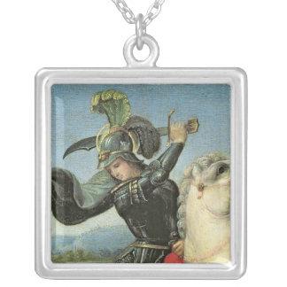 St George som kämpar med draken Silverpläterat Halsband