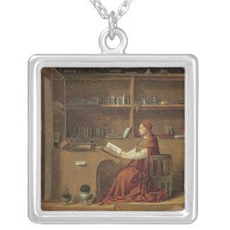St Jerome i hans studie, c.1475 2 Silverpläterat Halsband
