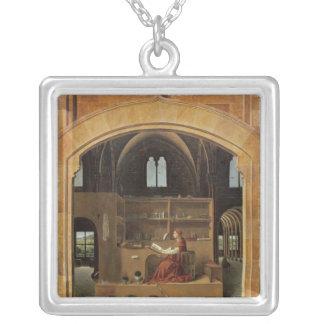 St Jerome i hans studie, c.1475 Silverpläterat Halsband