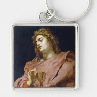 St John Evangelist Peter Paul Rubens Fyrkantig Silverfärgad Nyckelring