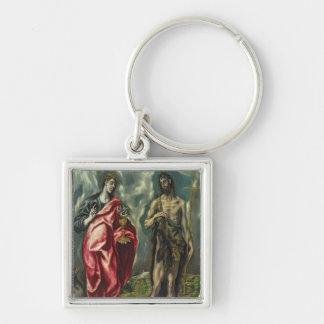 St John evangelisten och St John det baptistiskt Fyrkantig Silverfärgad Nyckelring