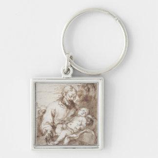 St Joseph med det sova Kristusbarnet (skriva & b Fyrkantig Silverfärgad Nyckelring