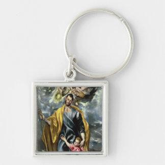 St Joseph och Kristusbarnet, 1597-99 Fyrkantig Silverfärgad Nyckelring