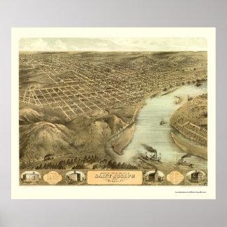 St Joseph panorama- karta för MO - 1868 Poster