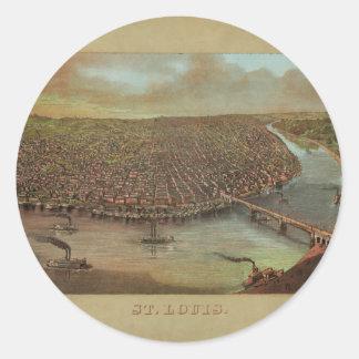 St Louis Missouri av George Degen från 1873 Runt Klistermärke