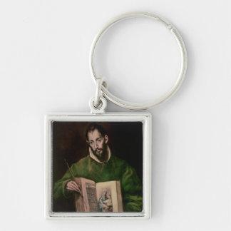 St Luke Fyrkantig Silverfärgad Nyckelring