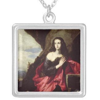St Mary Magdalene eller St. Thais i öknen Silverpläterat Halsband