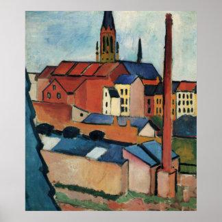 St. Marys med hus och lampglas vid Augusti Macke Poster