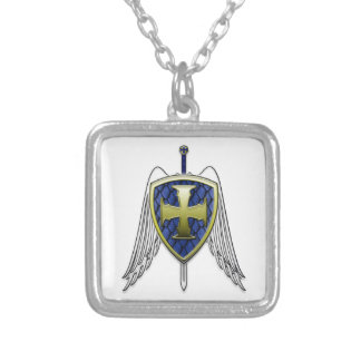 St Michael - drakefjäll skyddar Halsband Med Fyrkantigt Hängsmycke