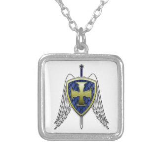 St Michael - drakefjäll skyddar Silverpläterat Halsband