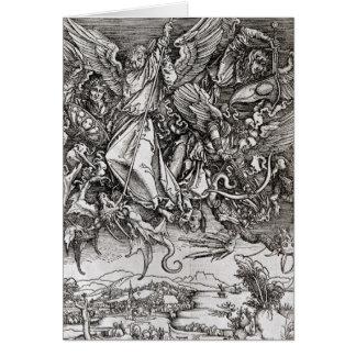 St Michael och draken, från en latin Hälsningskort