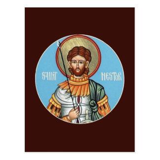 St Nestor av det Thessolonica bönkortet Vykort