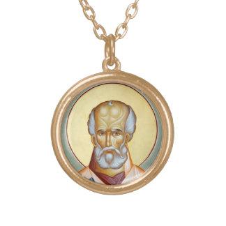 St Nicholas av det Myra hänget Guldpläterat Halsband