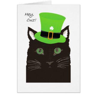 St-paddy'sdagen, för kusin, ha på sig Cuz, katt Hälsningskort