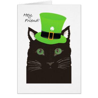 St-paddy'sdagen, för vän, ha på sig katten top hat hälsningskort