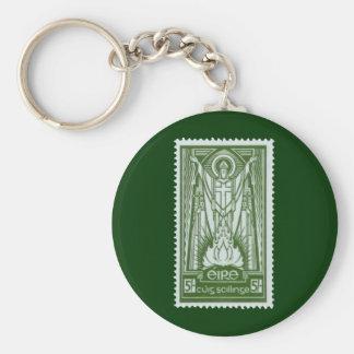 St Patrick irländskt portofrimärke Rund Nyckelring