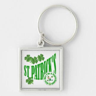 St Patrick kysser mig I-förmiddagen ett troll Fyrkantig Silverfärgad Nyckelring