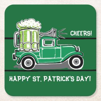 St patrick's day görar grön ölvintagelastbilen underlägg papper kvadrat
