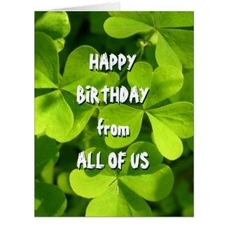 St. Patrick's Day Irish Birthday From All Jumbo Kort