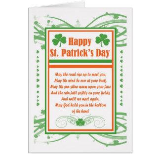 St patrick's daykort med välsignelse och Shamrocks Hälsningskort