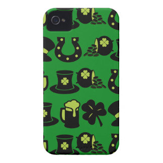 St patricks dayShamrockkruka av guldgröntöl Case-Mate iPhone 4 Fodral