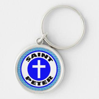 St Peter Rund Silverfärgad Nyckelring
