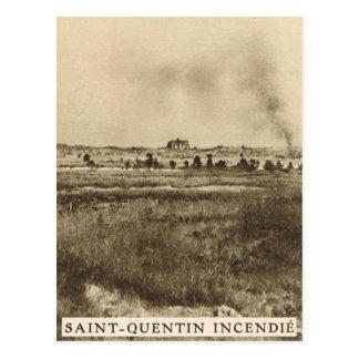 St Quentin flammar in, NE-frankriken Vykort