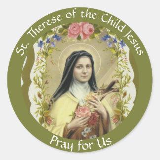 St. Therese av barnet Jesus Runt Klistermärke
