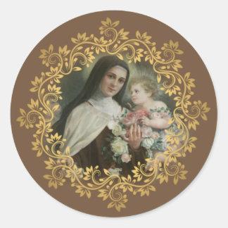 St. Therese av den barnJesus lite blomman Runt Klistermärke