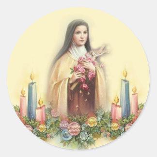 St. Therese av Lisieux med julljus Runt Klistermärke