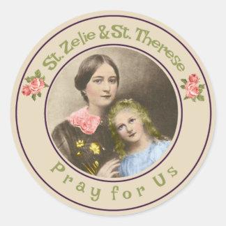 St. Therese & henne morSt. Zelie Martin Runt Klistermärke