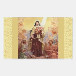 St. Therese lite blommaänglar Rektangulärt Klistermärke