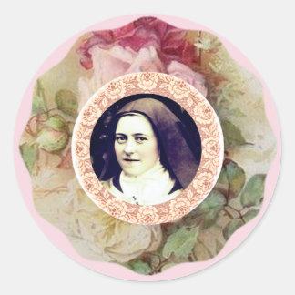 St. Therese lite blommaro Runt Klistermärke