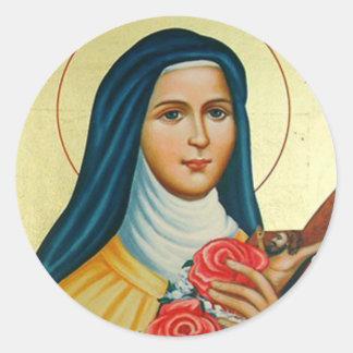 St. Therese lite blommarocrucifixen Runt Klistermärke