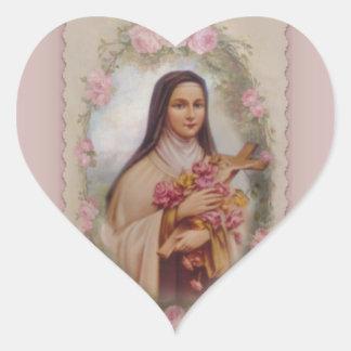 St. Therese lite blommarosa ros Hjärtformat Klistermärke